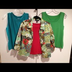 Bright floral and fauna print jacket. This versatile print jacket can be worn with many different solid tops. Three quarter length sleeve, falls below waist, 95% cotton 5% spandex, features too small upper pockets. kaktus Jackets & Coats