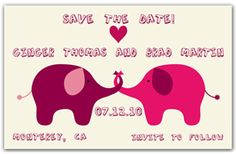 Humorous Save the Date Magnets - Elephant Love. Our Elephant Love Save the Date design takes humour to the next level. Two elephants stand face to face with entwined trunks and are dressed in shades of purple and pink. Funny Save The Dates, Wedding Save The Dates, Elephant Trunk, Elephant Love, Let The Fun Begin, Have Fun, Jumping The Broom, Save The Date Designs, Affordable Wedding Dresses