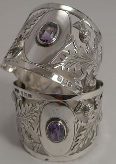 Fabulous Pair Antique English Sterling Silver Napkin Rings - Scottish Thistles and Amethyst Coloured Cairngorms