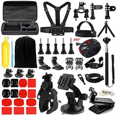 Iextreme Accessories for Gopro 5 4 3, Accessory Bundles with Chest Harness/Suction Cup(48 items)  【FLOATING HAND GRIP】Ensure your camera SAFETY when in WATER SPORTS. Easy to be found. Feel particularly comfortable when you holding it.  【Chest Strap】Allow you to put GoPro Hero on your chest. Compact size, stable and solid. Fully-adjustable design.  【Bike Handlebar】Allow you to fix the action camera on the bicycle handle bar. Perfect for extreme movement for bicycle.  【Vented Helmet Stra...