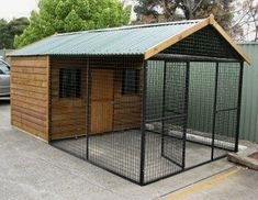 Chook Enclosures - Chicken Enclosure with Timber House Roof - Chook Pens - Covered Chook Enclosures - Hen Houses - Chicken Enclosures in Prefabricated Kits - We are the Pet Enclosure Specialists- Or dog pen! Chicken Coop Kit, Chicken Pen, Hotel Pet, Chicken Enclosure, Dog Enclosures, Chook Pen, Dog Kennel Designs, Dog House Plans, Dog Yard