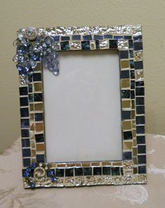 Picture Frame in Mirror Glass Mosaic Tiles/Longhorn color tile too