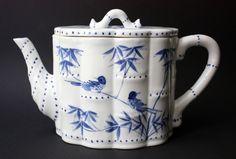 Rare Chinese blue & white Porcelain Tea Pot Bamboo-Décor & Form, Republic Period