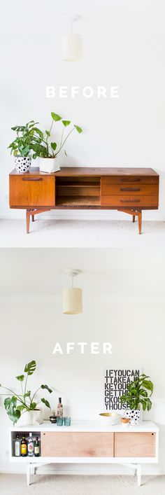 Easy DIY Sideboard Makeover before and after