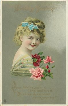 BIRTHDAY GREETINGS  girl with roses