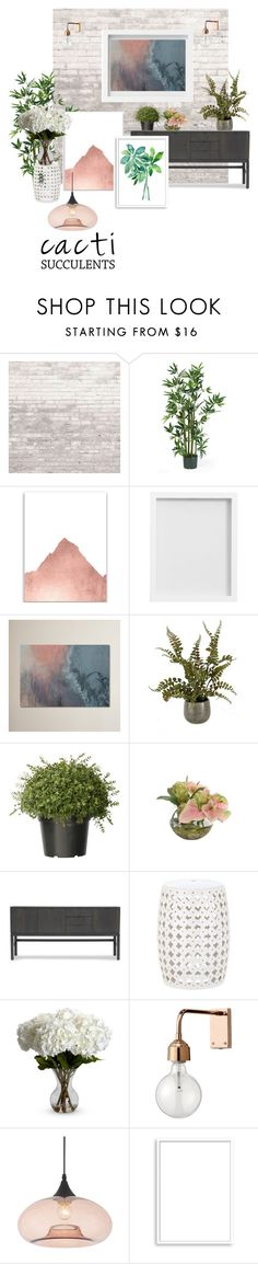 """By the wall"" by lomozui ❤ liked on Polyvore featuring interior, interiors, interior design, home, home decor, interior decorating, Pottery Barn, NDI, Mitchell Gold + Bob Williams and Nearly Natural"