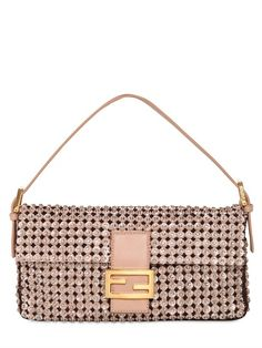 FENDI - CRYSTAL PEARL AND LEATHER BAGUETTE BAG - LUISAVIAROMA - LUXURY SHOPPING WORLDWIDE SHIPPING - FLORENCE