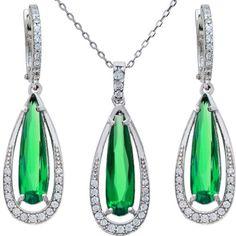 Citerna Sterling Silver Long Teardrop Design Emerald, Cubic Zirconia Pendant…