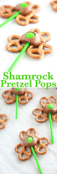 LOVE THESE -> SO EASY TO MAKE! If you have 5 minutes, you have all the time it takes to make these Shamrock Pretzel Pops. This sweet & salty treat is the perfect snack on St. Patrick's Day. via @simplymommy