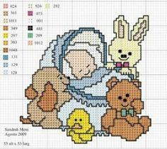 Urso+ bebê - Grafico Ponto Cruz