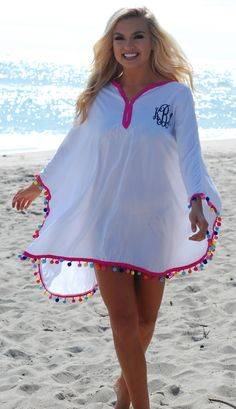 Hit the beach in this adorableee NEW Monogrammed Pom Pom Cover Up!!