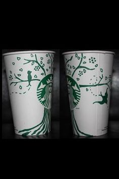 The little bird flew around the whole cup. Design by Michelle Randle. #WhiteCupContest