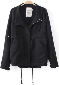 Black Lapel Long Sleeve Loose Pockets Outerwear | SheInside - $33.67