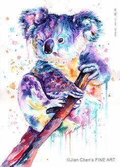 Kleine auf Print: Koala von JianChensFINEART auf Etsy