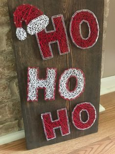 With Christmas right around the corner this sign would make a perfect addition to anyones Christmas decor. Disney String Art, Nail String Art, String Crafts, Diy Crafts, Resin Crafts, String Art Templates, String Art Tutorials, Christmas Signs Wood, Christmas Crafts