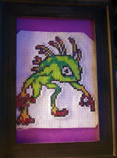 Murloc from World of Warcraft perler bead / cross stitch design