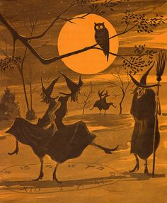 vintage witch witches children's book illustration dancing moon owl halloween