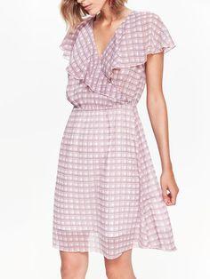 f70d34d18f Comanda online, Rochie roz Top Secret casual eleganta croi in clos guler cu  volanase din
