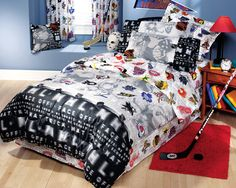 hockey bedding for boys | NHL Hockey Montage - 3pc Bed Sheets Set - Twin Bedding