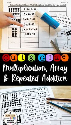 This set will allow you to enrich, reteach, and solidify math skills with all of your students. Students will match an array with the corresponding repeated addition and multiplication fact. Students will cut, sort, match and glue to show their understanding. This is a great way to make small group math time or center time more meaningful for students.