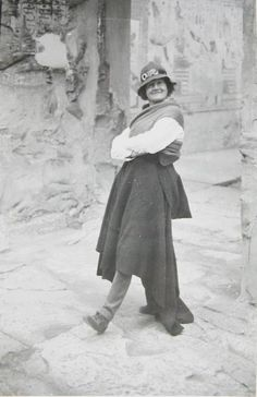 Amice Mary Calverley strikes a pose....It's undated but appears to be taken at the Seti I temple at Abydos. She was a plane-flying, war-filming, desert-living Egyptologist, who created stunning drawings of the Temple of Seti I at Abydos. Her drawings, financed by John Rockefeller Jr., were published in four oversized colour volumes. Her drawings were so good that her editors could find hieroglyphic errors made by the ancient Egyptians, but scarcely one made by her.