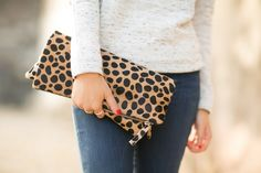 Clare Vivier leopard fold over clutch.  Love.