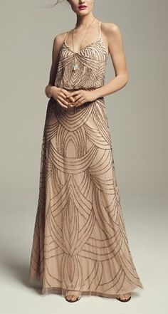 Gorgeous art deco inspired gown. I love the fabric and concept, but the spaghetti straps are a problem and beige is not good with my very pale skin.