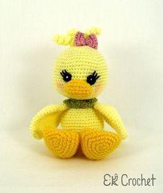 Little Amigurumi Crochet Yellow Baby Girl Duck