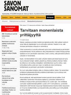 Yhteiskunnallisten yritysten Arvo-liiton mielipidekirjoitus Savon Sanomissa 17.4.2015. Sama juttu julkaistiin myös Karjalaisessa, Aamulehdessä ja Etelä-Suomen Sanomissa.