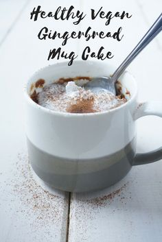 This gingerbread mug cake takes only 3 minutes to make and its healthy and vegan too! The perfect single-serve snack or dessert. Healthy Vegan Snacks, Vegan Treats, Delicious Vegan Recipes, Vegan Foods, Delicious Desserts, Yummy Food, Healthy Recipes, Healthy Baking, Healthy Eats