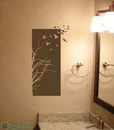 Tree Birds Half Panel Wall Art Graphics Lettering by thestickerhut, $21.99