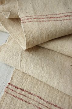 Vintage European homespun linen / hemp ~ 19th century fabric with lovely French red stripe ~*~ www.textiletrunk.com