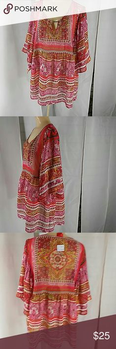 """Christina V. Tunic top with Kimono sleeves Multi print shades of pink green whute with embellished neckline. Kimono sleeves are open on bottom. Size XL Bust= 22 """" flat Christina V Tops Tunics"""