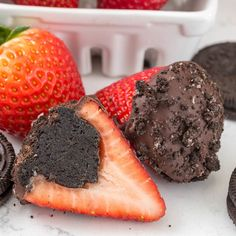 Oreo Truffle Strawberries - an easy dipped strawberry stuffed with an OREO truffle!!