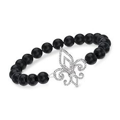 Smooth black onyx beads centered by a diamond kissed fleur-de-lis symbol. Stretches to fit most wrists. Bracelet presented in sterling silver.