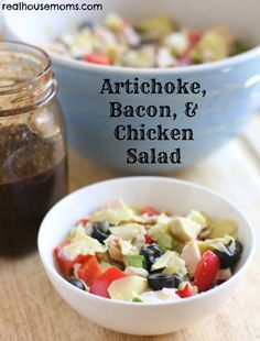 Artichoke, Bacon, & Chicken Salad combines flavorful, fresh, and delicious ingredients for a perfect lunch or side dish.