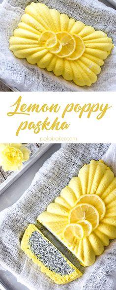 Lemon poppy paskha - nontraditional way of making traditional Orthodox Easter dessert. - polabaker.com  #recipe #paskha #easter #cottagecheese #dessert #nobake #russian #polabaker #cheesecake #рецепт #пасха #творожнаяпасха #творог #десерт