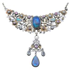 Black Opal, Pearl, Pink Tourmaline Necklace by Arthur & Georgie Gaskin, circa 1909