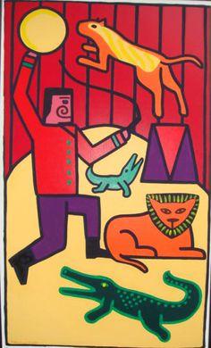 Le cirque, 1985, acrylique sur toile, 200 x 100 cm, collection privée Bad Painting, Keith Haring, Illustration Design Graphique, Neo Expressionism, Art Moderne, Modern Art, Collection, Watercolor Painting, Toile