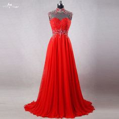 >> Click to Buy << RSE731 High Neck Backless Red Prom Dress Chiffon With Rhinestones #Affiliate