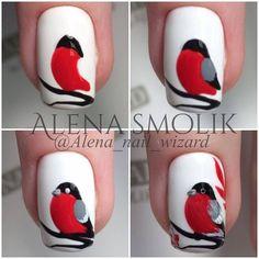 Nail designs here! Christmas Nail Designs, Christmas Nail Art, Nail Art Hacks, Easy Nail Art, Cute Nails, Pretty Nails, Animal Nail Art, Nail Art Techniques, Xmas Nails