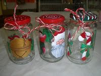 Jam jars r normally quite robust & air-tight. It is nice to paint some Christmas motifs on it and fill it up w some cookies or candies to be given as gifts. U can paint on glass & tin surfaces using enamel paint. These jars r washable.