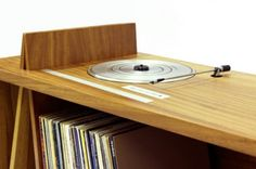 Furniture:Playing Music From Vinyl Record On Woodworking Folded Record Bureau Table Design Using the Wooden Record Bureau for Your Furniture...