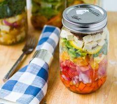 Good reminders and ideas for salads in a jar, etc.