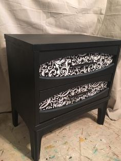Bed side table painted with Black Velvet DIY paint and little decoupage