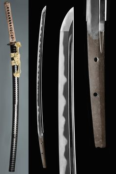 An important Soden-Bizen katana attributed to Osafune Nagamori (長船長守). NBTHK Juyō Token. Nanbokucho period, circa 1360  Nagasa [lenght]: 69.5 cmMotohaba: 2.9 cm, sakihaba: 2.1 cmSori: 1.8 cmSugata [configuration]: shinogi-zukuri, tori-zori, iori-mune, enlongated chu-kissaki (3.9 cm)Kitae [forging pattern]: itame mixed with mokume, plenty of small jinie and chikei, pale utsuriHamon [tempering pattern]: wider on the upper half; koshi-no-hirata mixed with fukushiki-o-gunome and choji…