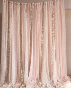 Pink white Lace fabric Gold Sparkle photobooth backdrop Wedding ceremony stage,birthday,baby shower backdrop party curtain nursery decor by SilverDrawer on Etsy Decoration Hall, Decoration Photo, Decoration Bedroom, Decoration Christmas, Decoration Inspiration, Decoration Design, Nursery Decor, Girl Nursery, Room Decor