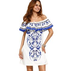 875cc56379a SheIn Summer Beach Dresses For Woman New Style Boho Ladies Multicolor Print  Ruffle Off The Shoulder