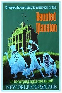 Vintage Disney Collector's Poster 12x18 Disneyland Haunted Mansion Green   eBay