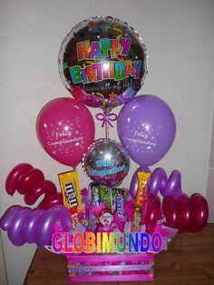 arreglos de globos y dulces para cumpleaños - Buscar con Google
